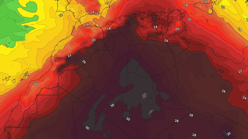 Algeria | Rising temperatures and lower chances of rain than most areas at the end of the week