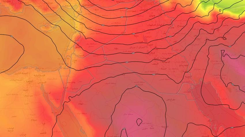 بلاد الشام | استمرار سيطرة كتلة هوائية حارة نسبياً ومؤشرات على المزيد من الارتفاع على الحرارة نهاية الأسبوع الحالي