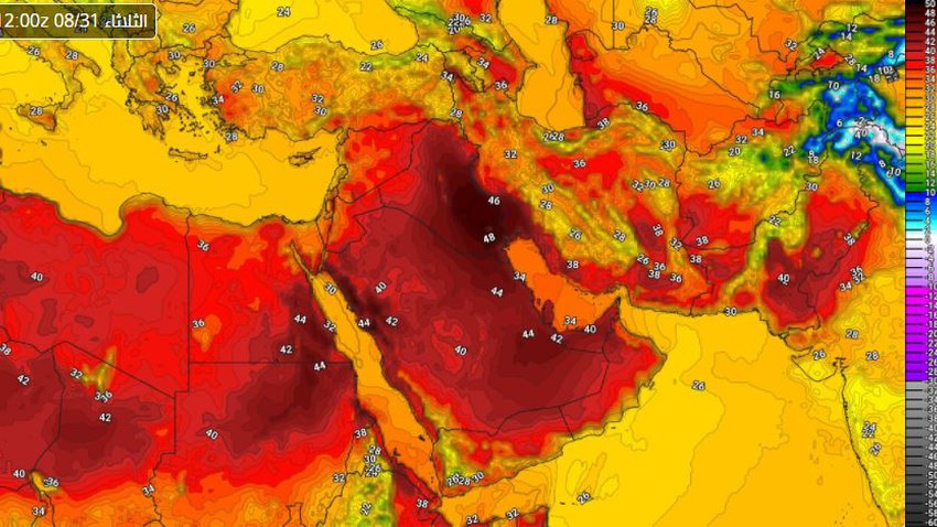 Egypt   Temperatures continued to be slightly above their average, and a remarkable activity in wind speeds in many areas, Tuesday