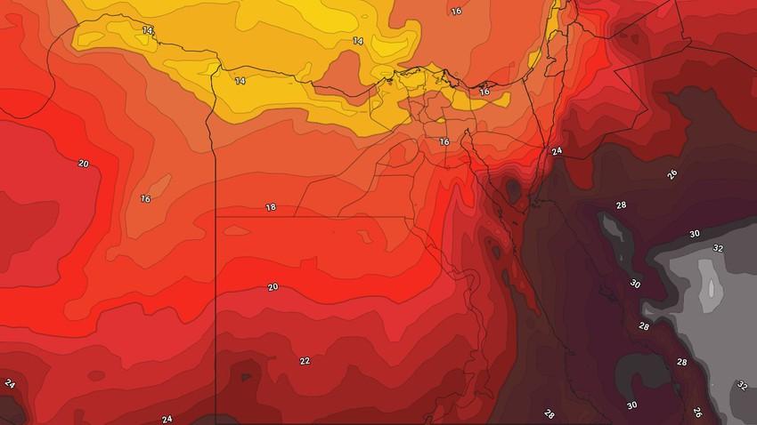 Egypte   Une masse modérée accompagnée d'une baisse significative des températures affecte la région en fin de semaine