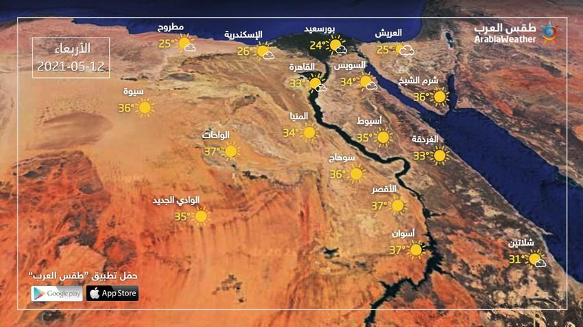 مصر | انخفاض طفيف على درجات الحرارة واستمرار فرص الغبار وتشكّل الضباب في هذه المناطق الأربعاء