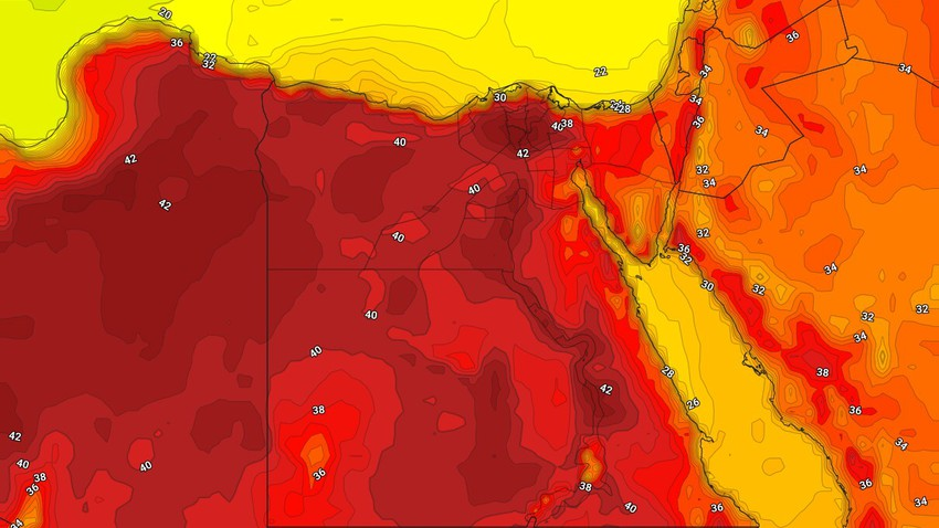 مصر   أسبوع لاهب واشتداد على الموجة الحارّة والحرارة تتجاوز 40 درجة في القاهرة