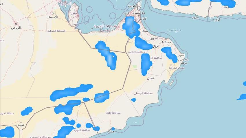 سلطنة عُمان | زخات رعدية متوقعة على بعض المناطق خلال الأيام القادمة