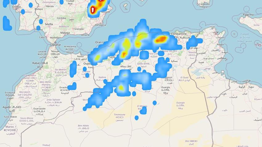 تنبيه متقدم | أمطار رعدية غزيرة متوقعة في شمال الجزائر وتحذير من خطر تشكّل السيول