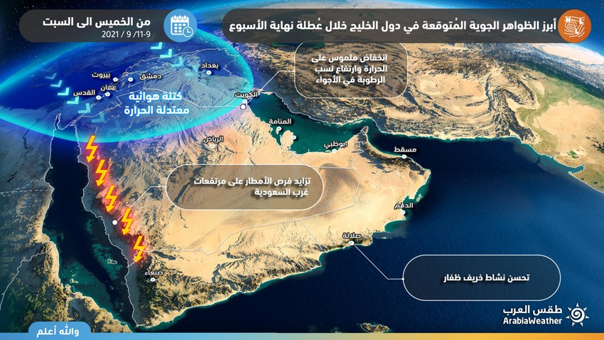 Arabian Gulf   Low temperatures in Kuwait and northern Saudi Arabia, and rain and dusty weather are present in these areas