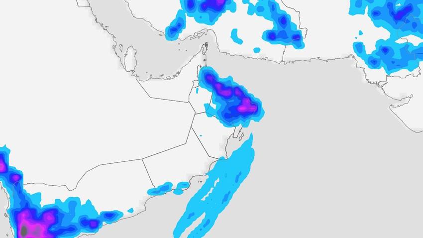 تحت المراقبة | ازدياد تدفق الرطوبة مدارية نحو سلطنة عُمان واشتداد حدة الأمطار من جديد نهاية الأسبوع