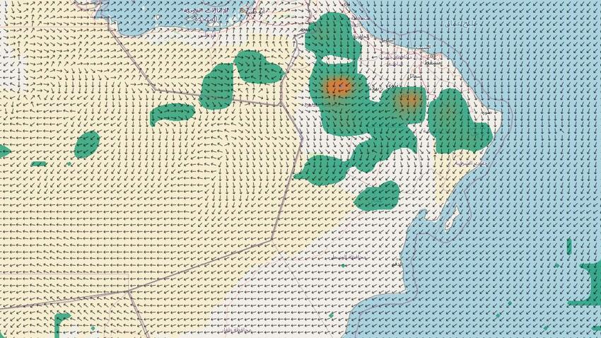 Sultanat d'Oman | Activité continue des orages sur certaines parties des montagnes Al Hajar et les zones voisines la semaine prochaine