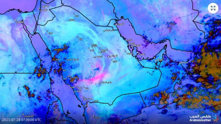 Arabie Saoudite | Le temps poussiéreux se poursuit avec une sévérité variable dans certaines parties du centre et de l'est du Royaume dans les prochaines heures