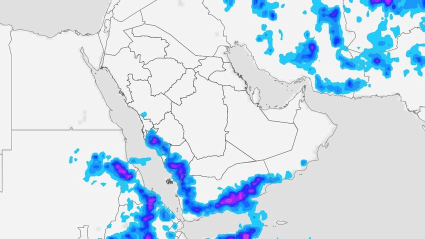 اليمن | استمرار الامطار الرعدية لكن مع تراجع في رقعة الأمطار نهاية الأسبوع