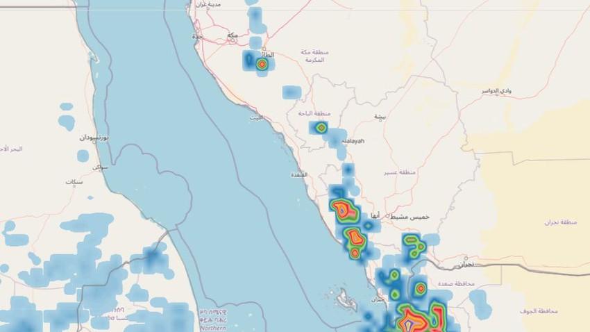 هام   تجدد الأمطار الرعدية بقوة على غرب السعودية خلال الساعات القادمة