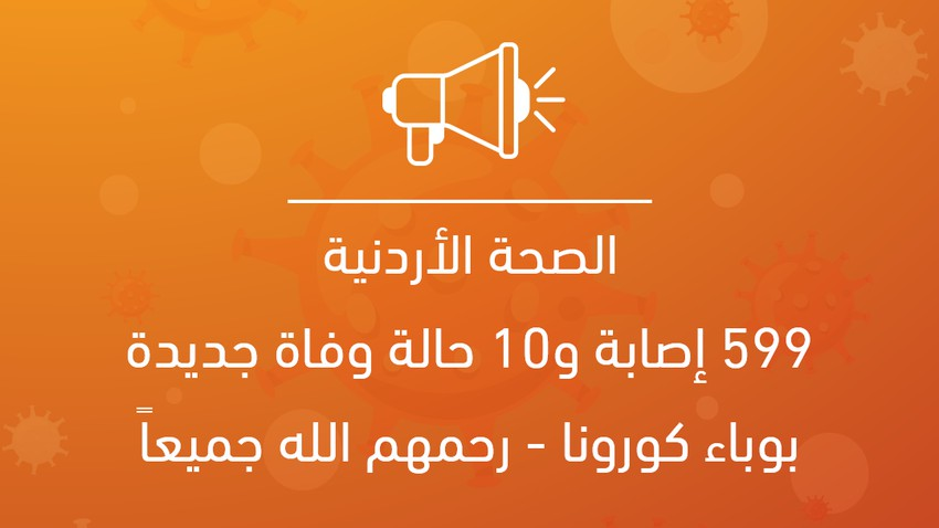 الصحة الأردنية: 599 إصابة و10 حالة وفاة جديدة بوباء كورونا - رحمهم الله جميعاً