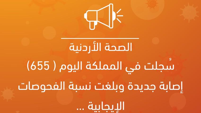 الصحة الأردنية: سُجلت في المملكة اليوم (655) إصابة جديدة وبلغت نسبة الفحوصات الإيجابية ...