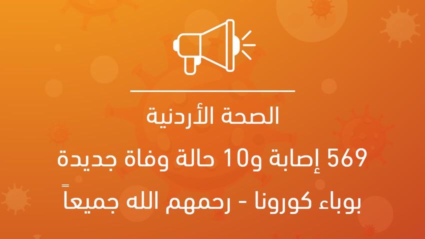 الصحة الأردنية: 569 إصابة و10 حالة وفاة جديدة بوباء كورونا - رحمهم الله جميعاً