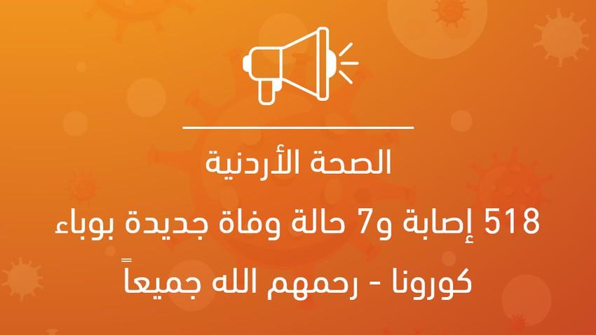 الصحة الأردنية: 518 إصابة و7 حالة وفاة جديدة بوباء كورونا - رحمهم الله جميعاً
