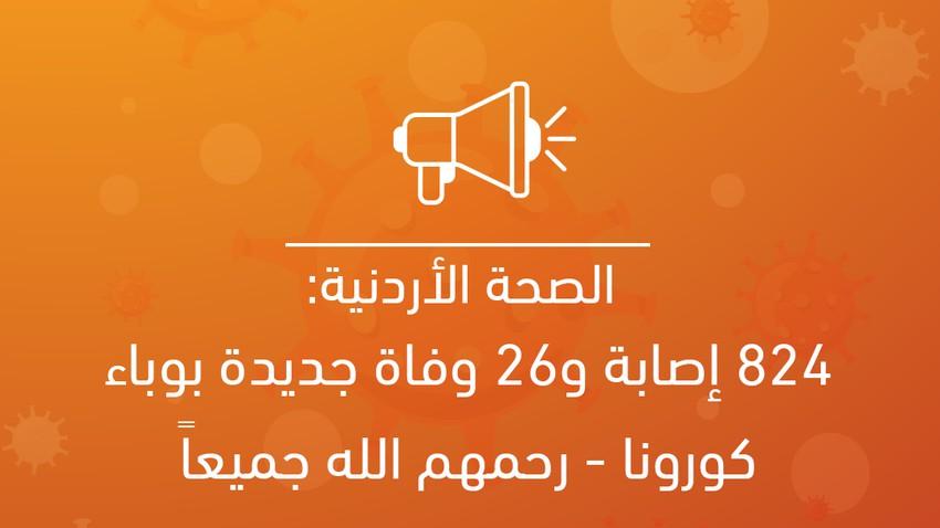 الصحة الأردنية: 824 إصابة و26 حالة وفاة جديدة بوباء كورونا - رحمهم الله جميعاً