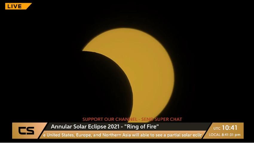 بث مباشر | كسوف حلقي للشمس الان في غرب جرينلاند وكندا وأجزاء من أمريكا وروسيا