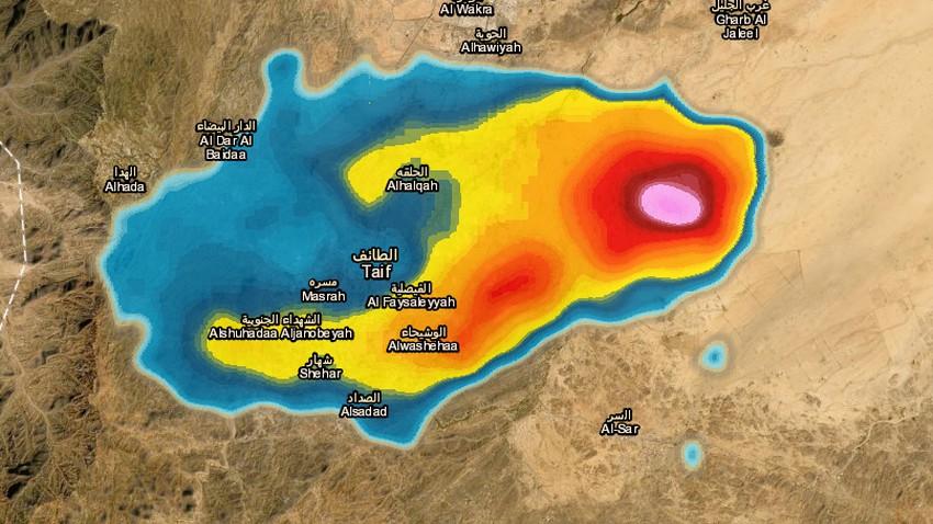 تحديث 4:50م   سحب رعدية قوية شرق الطائف وهذا ما نتوقعه للساعة القادمة