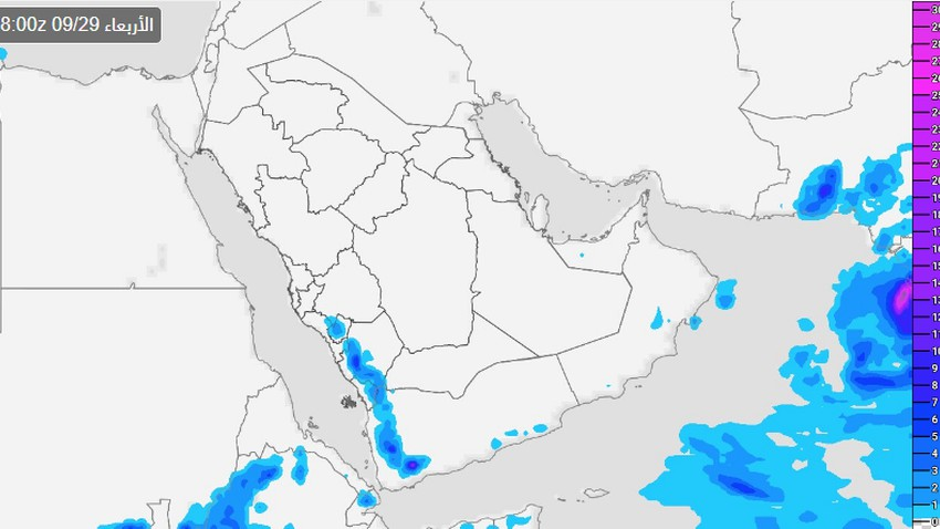 Saudi Arabia | Intensification and extension of thunderstorms over the heights of western Saudi Arabia on Wednesday