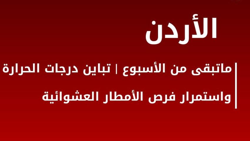الأردن-ماتبقى من الأسبوع | استمرار التباين الحراري واشتداد تأثير منخفض البحر الأحمر نهاية الأسبوع