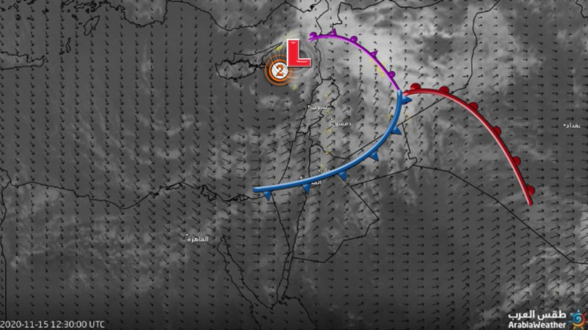 الأردن-تحديث المنخفضات الجوي | استمرار الأمطار المتفرقة خلال الساعات القادمة