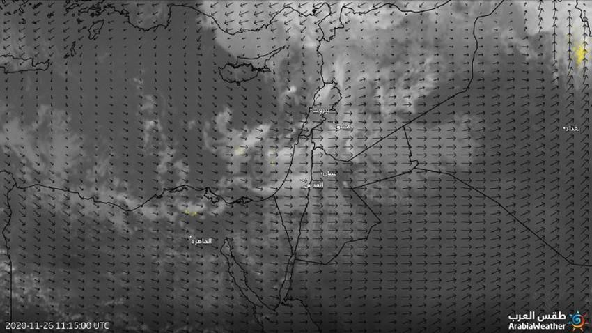 تحديث-الأردن   حزام من السُحب الماطرة يتوجه نحو وسط وجنوب المملكة
