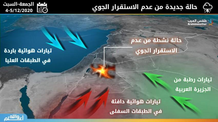 الأردن | حالة جديدة من عدم الاستقرار الجوي خلال يومي الجمعة والسبت وتنبيهات من تشكل السيول في بعض المناطق