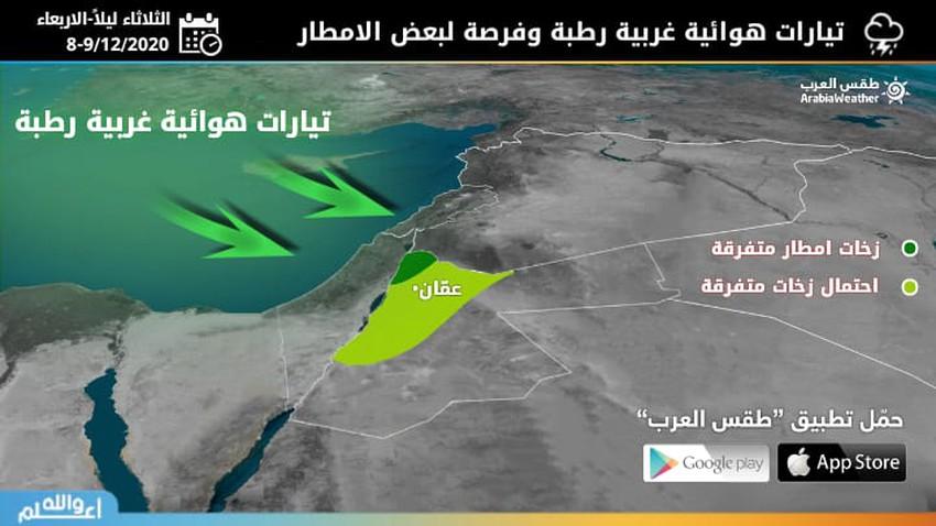 الأردن | فرصة لزخات متفرقة من الأمطار في بعض المناطق ليل الثلاثاء ونهار الأربعاء