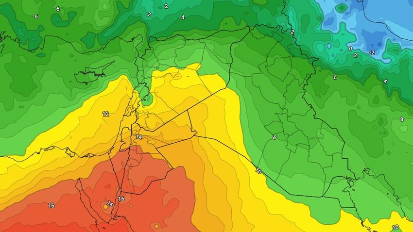 الأردن-نهاية الأسبوع | عودة درجات الحرارة للارتفاع وفرصة لزخات محدودة من المطر السبت