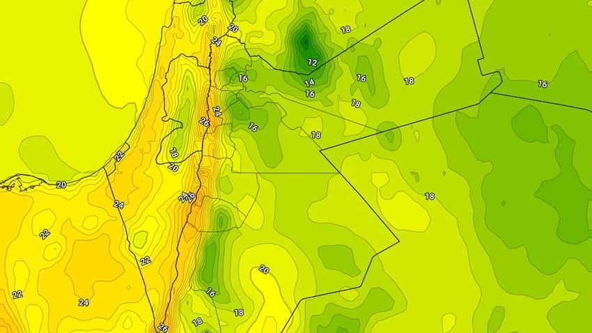 الجمعة   انخفاض على درجات الحرارة وأجواء باردة نسبيًا تميل للدفء فوق بعض المناطق
