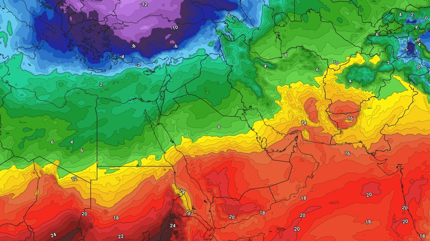 Egypt and the Levant | An atmospheric depression that brings the drop in temperature, precipitation and snow to the high mountains in Lebanon