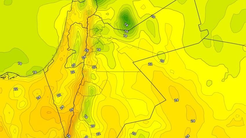 الإثنين   ارتفاع على درجات الحرارة مع نشاط الرياح الجنوبية الشرقية