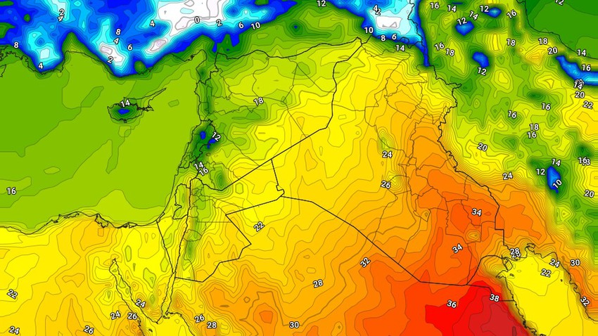 العراق | درجات الحرارة تلامس الـ 30 درجة مئوية لليوم الثاني على التوالي وزخات رعدية على شمال البلاد