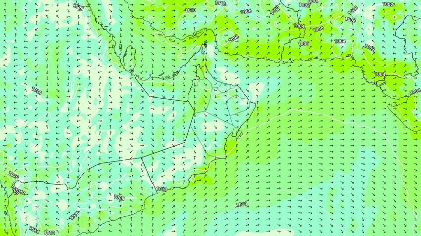 عُمان | حالة الطقس المُتوقعة يوم الإثنين 19/4/2021