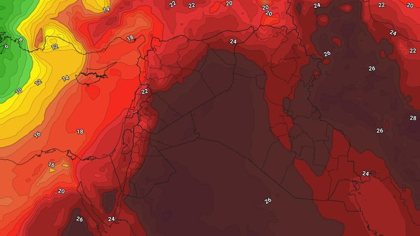 الثلاثاء | تراجع قليل على حدة الموجة الحارة مع بقاء الطقس حار في مُختلف المناطق