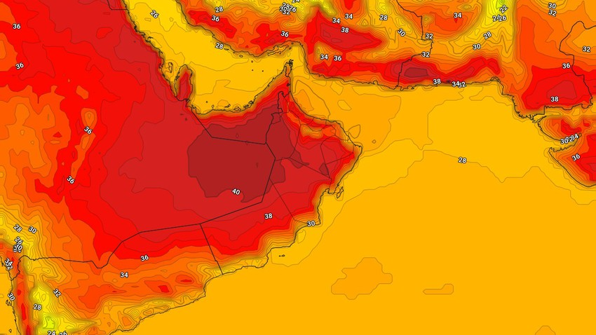 Oman | Hot to very hot weather in some areas and a weak chance of showers of rain in limited parts of the southern regions