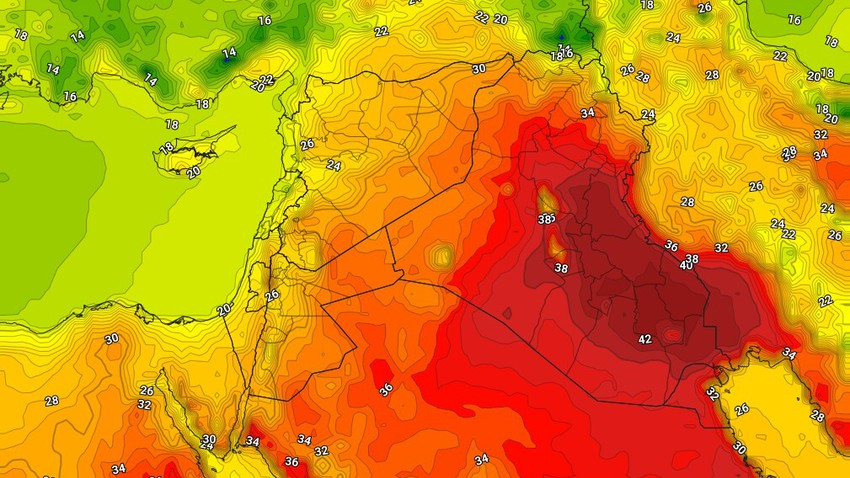Iraq | Scorching temperatures in Baghdad on Wednesday and the opportunity for thunderstorms of rain in narrow and random geographical ranges