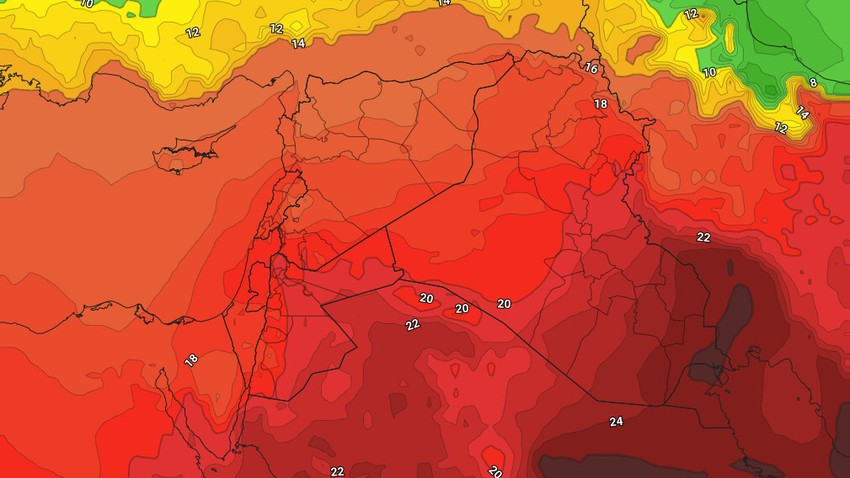Iraq - Weekend | An additional decrease in the temperature and the continued chances of thunderstorms in random and limited areas