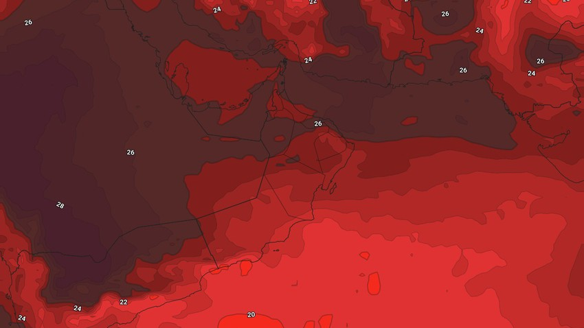 Oman - Weekend | A slight increase in temperature and the continued chances of thunderstorms in random and limited areas