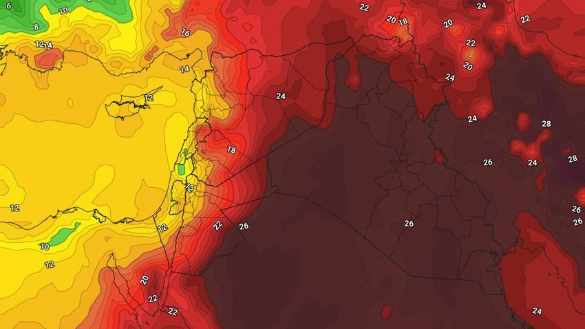 العراق | ارتفاع على درجات الحرارة الأحد ومُنخفض خماسيني يتسبب بتعمق الكتلة الهوائية الحارة وهبوب الرياح القوية الإثنين