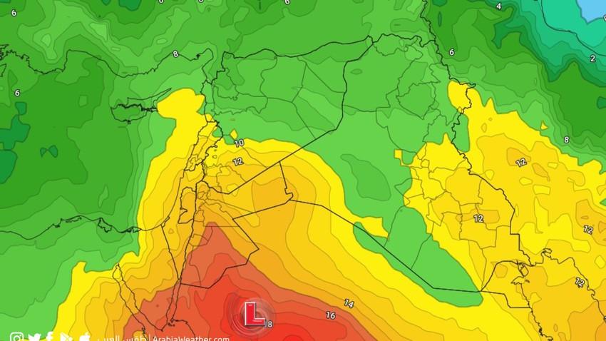 الأردن   امتداد منخفض البحر الأحمر خلال اليومين القادمين مما يسبب ارتفاع درجات الحرارة وهبوب الرياح الشرقية