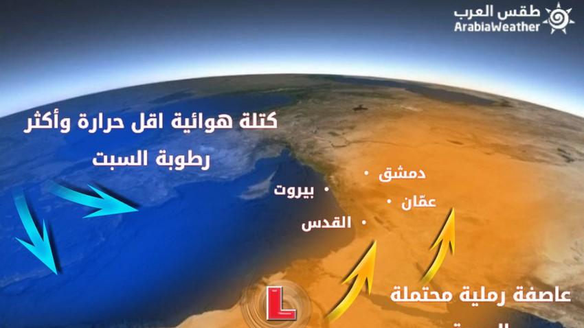 عاصفة رملية محتملة مرافقة لخماسيني عميق الجمعة يتبعون بكتلة هوائية رطبة السبت....التفاصيل