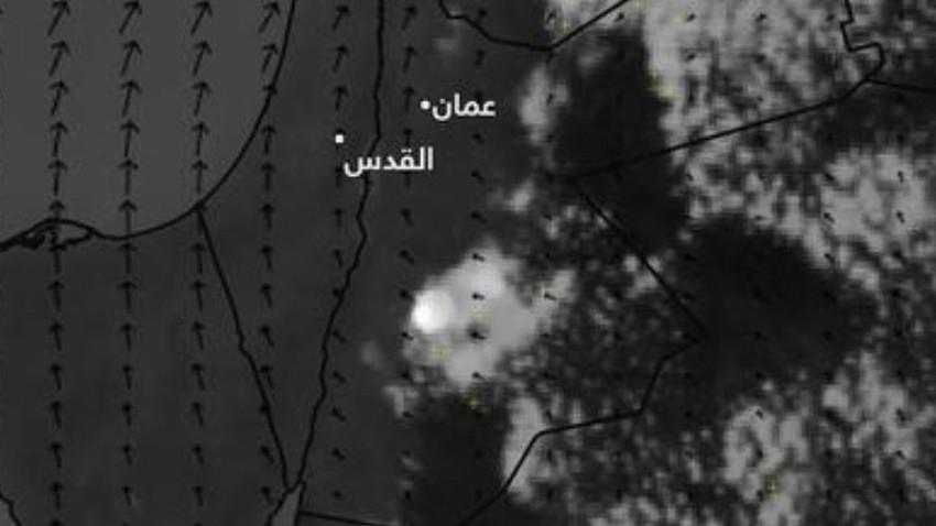 تنبيه | سحابة رعدية قوية شرق محافظة الطفيلة وتنبيه من تشكل السيول
