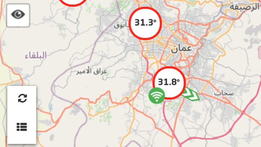 بحسب محطات الرصد الجوي درجات حرارة ثلاثينية تسجل في العاصمة عمان الآن