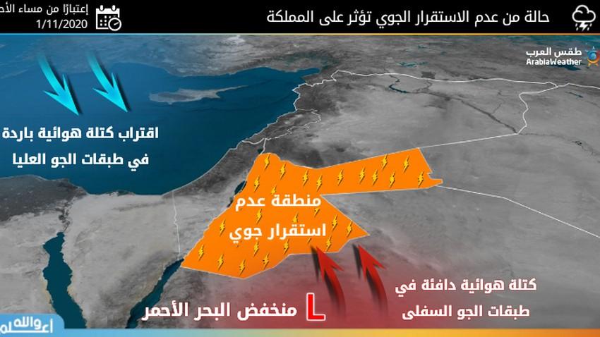 الأردن | حالة من عدم الاستقرار الجوي تؤثر على المملكة من الأحد تتزامن مع انخفاض ملموس على الحرارة