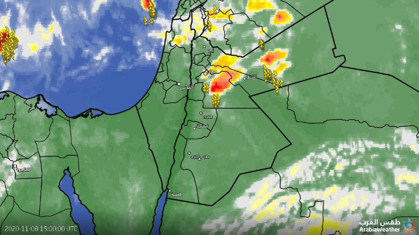 الأردن | سحب رعدية تؤثر على وسط وشرق المملكة مترافقة مع تساقط لحبات البرد
