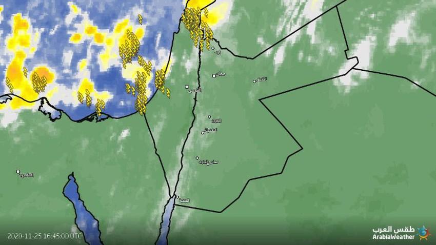 تحديث الساعة 7.30 مساءً   زخات من الامطار في شمال المملكة وانتشار الامطار خلال الساعات القادمة