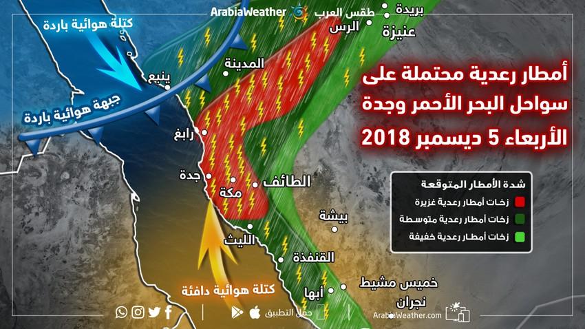 أمطار رعدية غزيرة محتملة على مدينة جدة وسواحل البحر الأحمر يوم الأربعاء طقس العرب