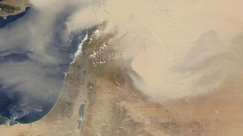 صور الأقمار الاصطناعية الأخيرة تظهر عاصفة رملية فوق بلاد الشام