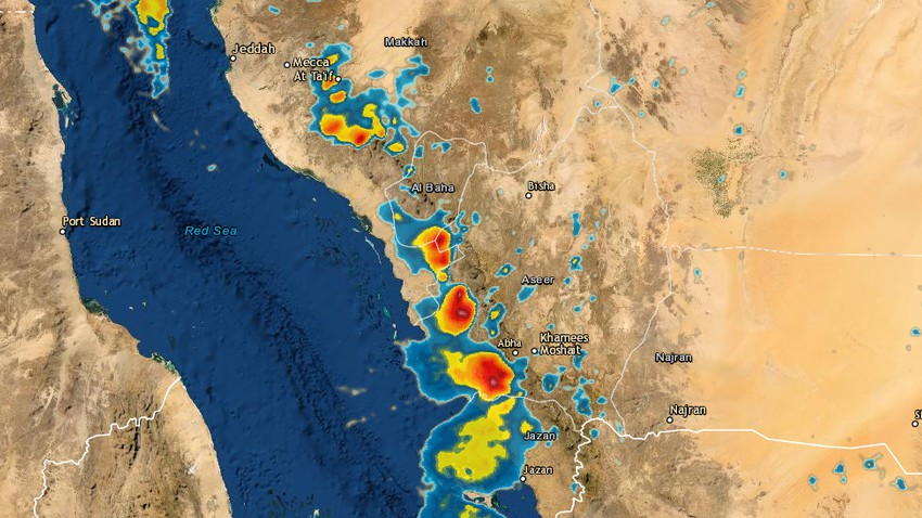 Update 4:00 pm | Thunder clouds and heavy rain are now affecting large parts of western and southwestern Saudi Arabia