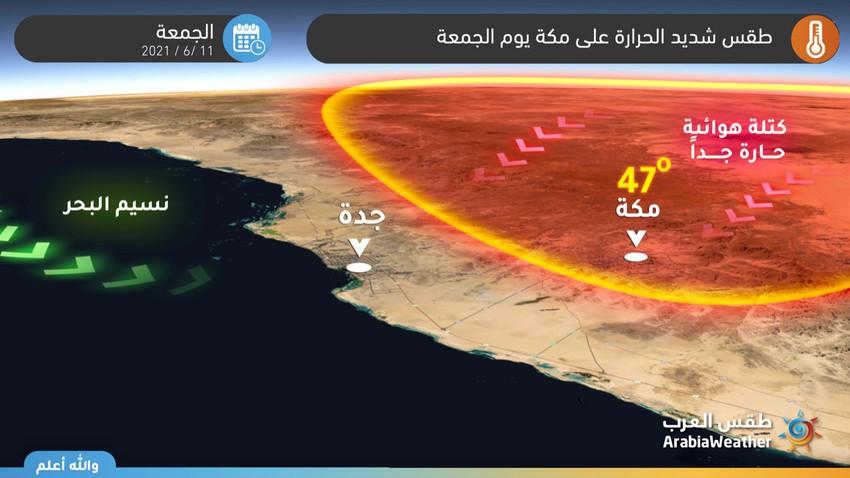 مكة المكرمة   الحرارة تقترب من الـ 50 يوم الجمعة وتحذيرات جدية من الإجهاد الحراري وضربات الشمس